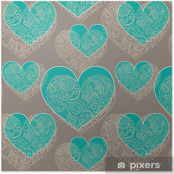 Poster Ornementales cœurs en dentelle, seamless - Bonheur