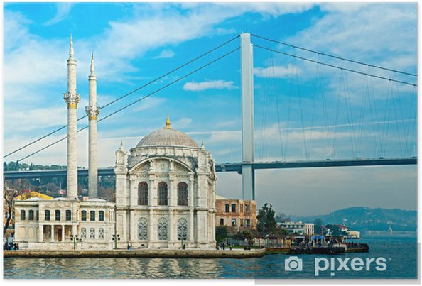 Poster Ortakoy moskee en de Bosporus-brug, Istanbul, Turkije. - Thema's