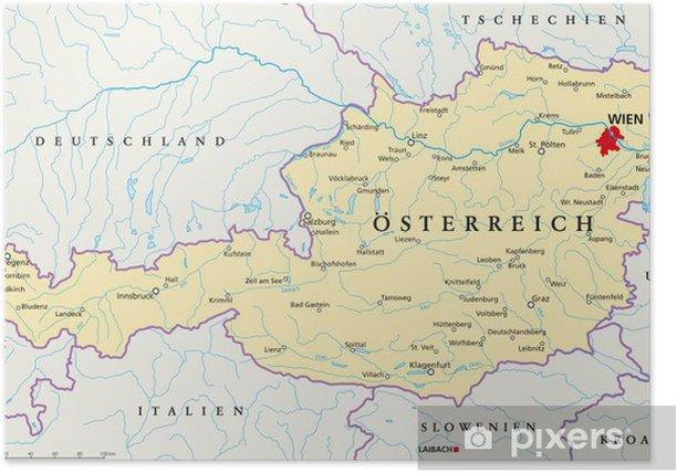 Landkarte Deutsch.Osterreich Landkarte Deutsch Poster