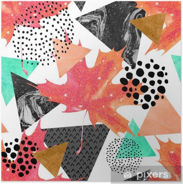 Póster Otoño sin patrón abstracto geométrico. - Otoño