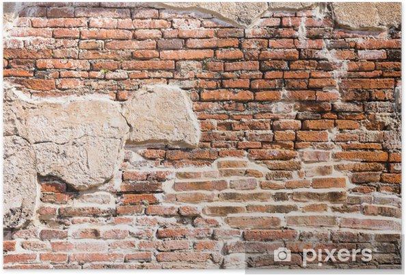 Poster Oude bakstenen muur fragment - Thema's