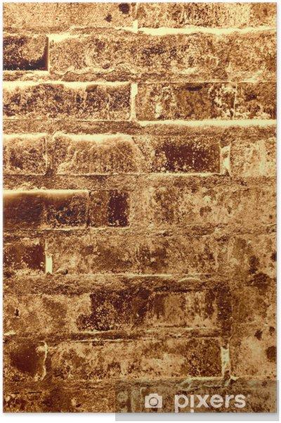 Poster Oude bakstenen muur textuur - bruin - Achtergrond