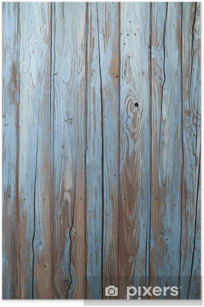 Poster Oude blauwe houten muur -