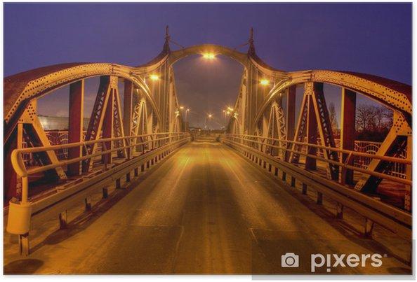 Poster Oude draaibrug in Krefeld haven - Onderweg