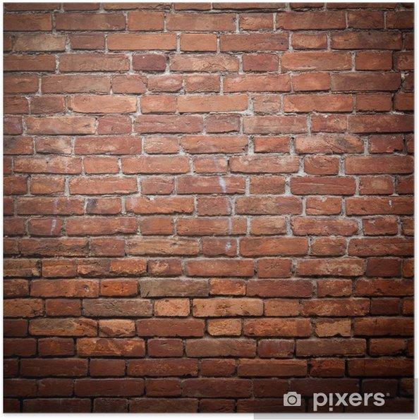Poster Oude grunge rode bakstenen muur textuur - Thema's