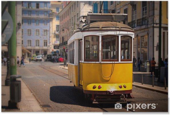 Poster Oude ISSABON gele tram op de straat - Europese steden