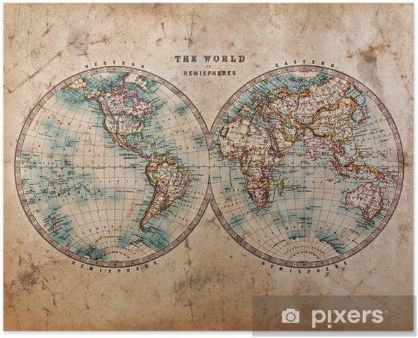 Poster Oude Kaart van de Wereld in Hemisferen - Thema's