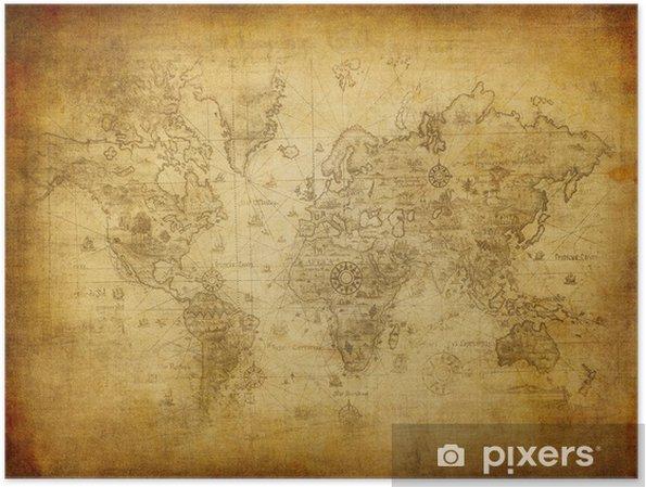 Poster Oude kaart van de wereld - Thema's