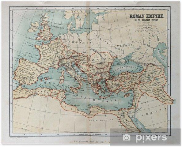 Poster Oude kaart van het Romeinse Rijk, 1870 - Thema's