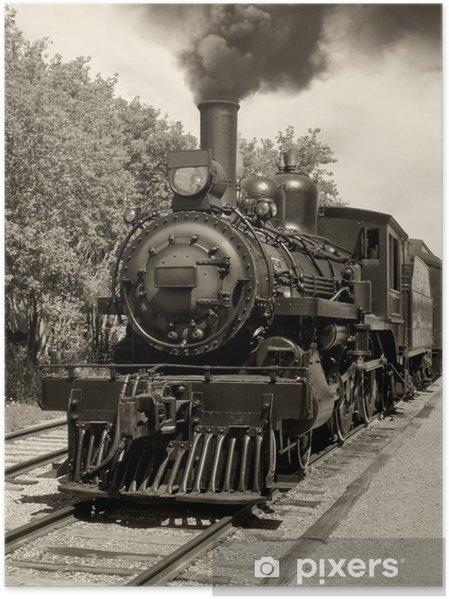 Poster Oude locomotief sepia -