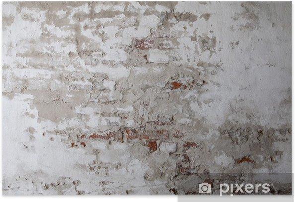 Poster Oude rode bakstenen muur met gescheurd beton - Thema's
