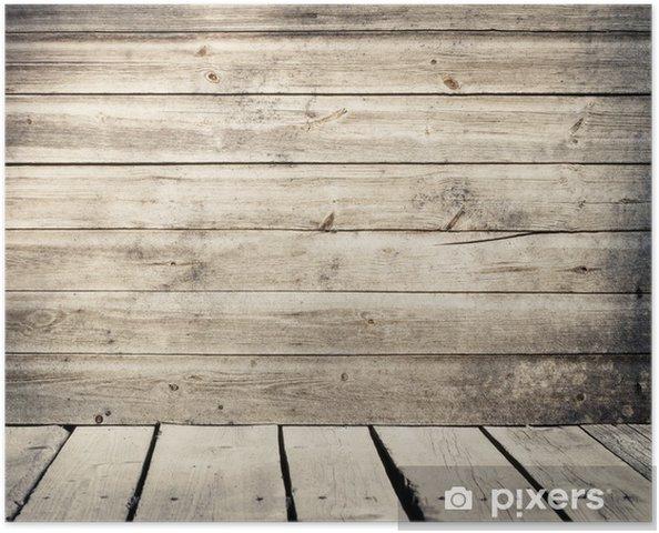 Muur Van Houten Planken.Poster Oude Verweerde Houten Planken Muur Met Vloer Pixers We