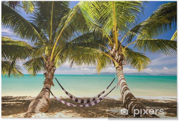 Poster Out: hangmat onder de palmbomen - Water
