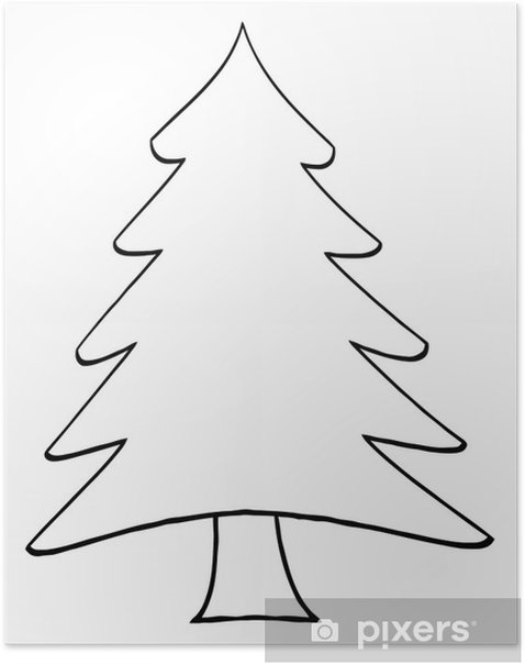 Outline Cartoon Christmas Tree Poster Pixers We Live To Change