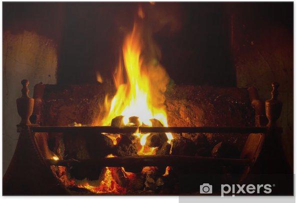 Poster Ouvrez le feu de charbon - Textures