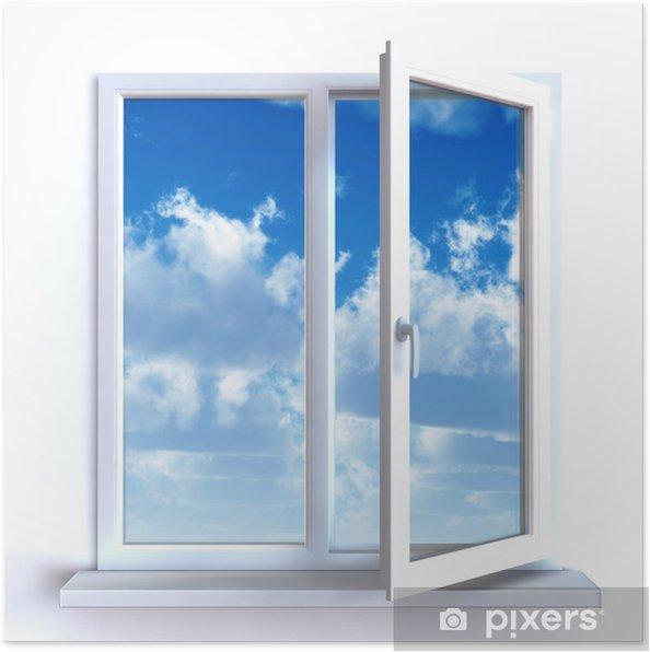 Poster Ouvrir la fenêtre et le ciel nuageux - Sticker mural