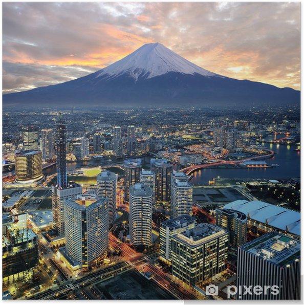 Poster Overklig utsikt över Yokohama stad och Mt. Fuji -