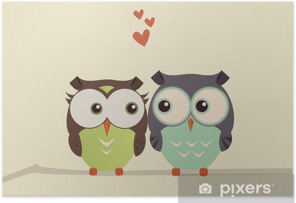 owls on a brunch Poster - Birds