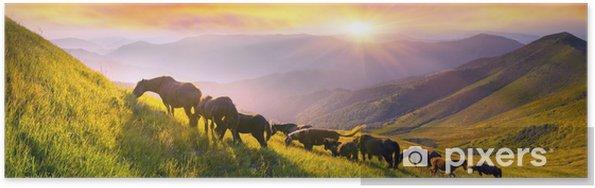 Poster Paarden op de bergtop - Dieren