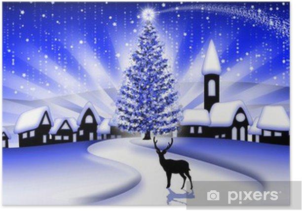 Paesaggio Natale Blu Christmas Landscape Paysage Noël Banner Poster