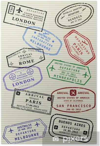 Poster Page du passeport avec timbres de voyage - visas de voyage - Signes et symboles