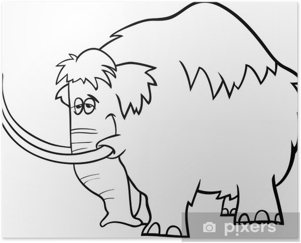 Póster Página para colorear de dibujos animados de mamut • Pixers ...