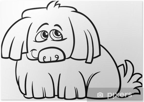 Póster Página para colorear de dibujos animados lindo perro peludo ...