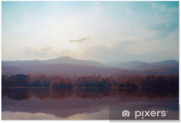 Póster Paisaje de montañas del lago en otoño - estilos de época. - Paisajes