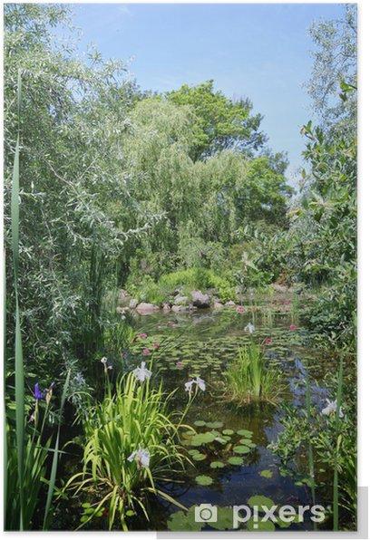 Poster Paisible jardin d'été de l'eau - Maisons et jardins