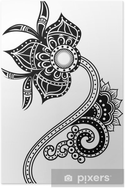 Poster Paisley tribal fleur illustration - Styles