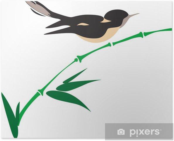 Póster Pájaro en bambú - Aves