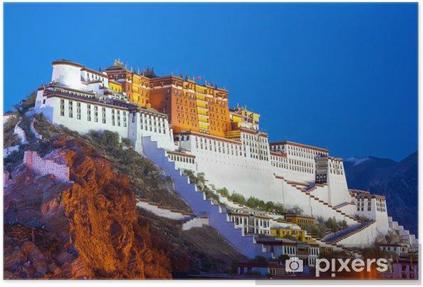 Póster Palacio de Potala en la oscuridad en Lhasa, Tíbet - Asia