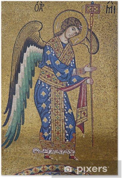 Palerno - Mosaic of Archangel Michael in La Martorana Poster - Religion and spirituality