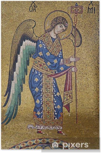 Póster Palerno - Mosaico del Arcángel Miguel en La Martorana - La religión y la espiritualidad