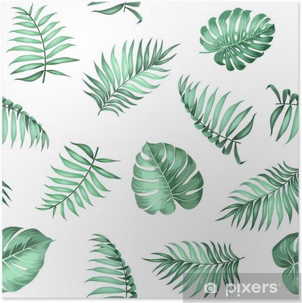 Poster Palm topique laisse sur pattern pour la texture du tissu. Vector illustration. -