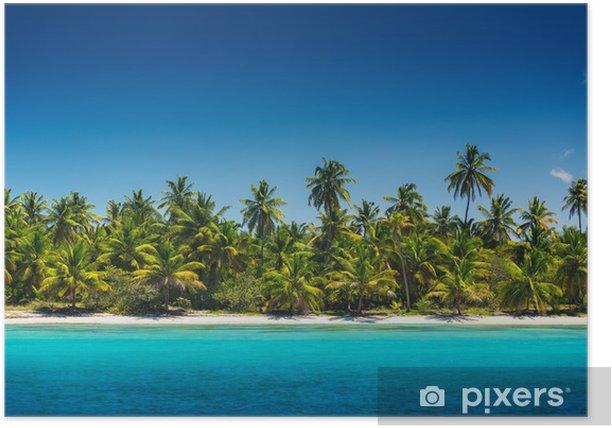 Poster Palmiers sur la plage tropicale, l'île de Saona, Dominican Republ - Îles