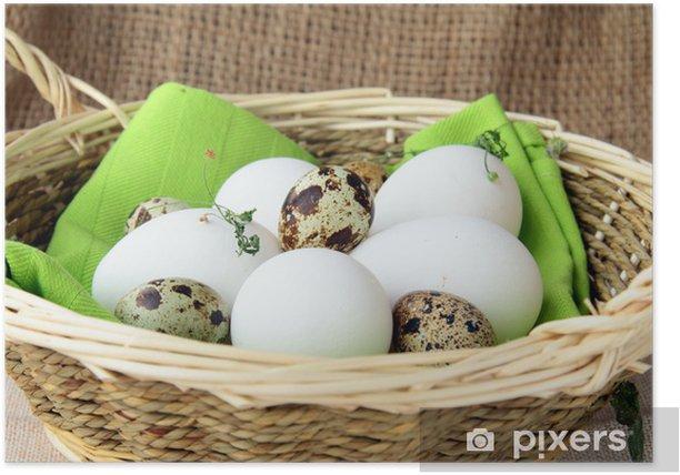 Poster Panier d'œufs sur une table en bois - Œufs
