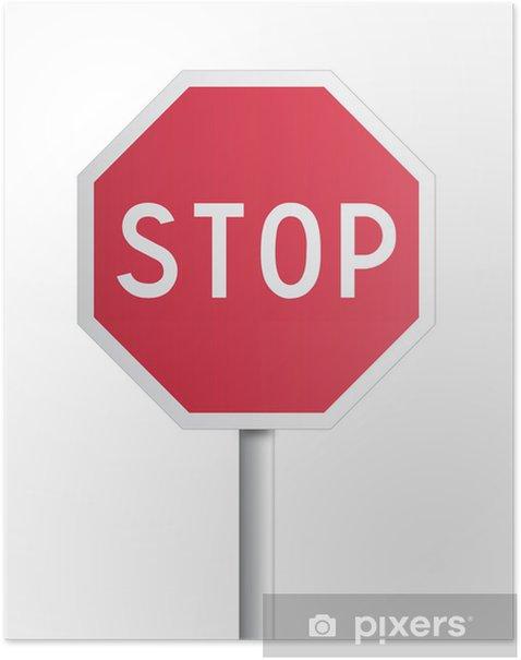 Poster Panneau stop - Signes et symboles