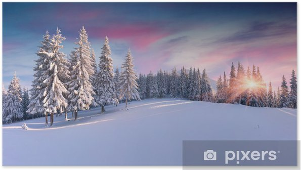 Poster Panorama d'un lever de soleil en hiver dans les montagnes - Panoramique