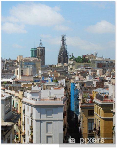 Poster Panorama de Barcelone avec un type sur la cathédrale, Espagne - Villes européennes