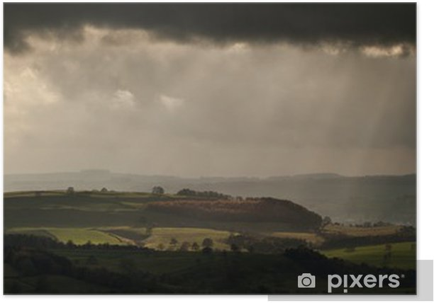 Panorama Landscape Dramatic Sky With Sun Beams Over Countryside Poster Pixers We Live To Change