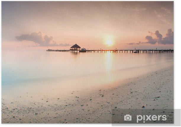 Panorama of sunrise in the Maldives Poster - Holidays