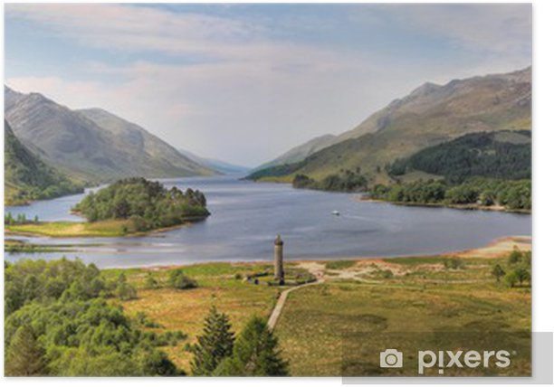 Panorama of the Glenfinnan Monument and Loch Shiel,Scotland Poster - Themes