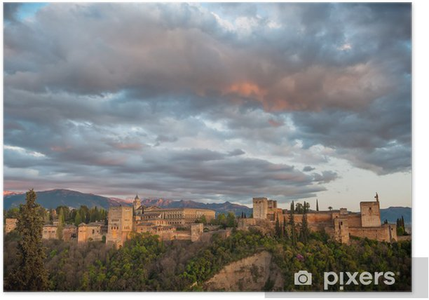 Panorama view of Alhambra palace, Granada, Spain Poster - Themes