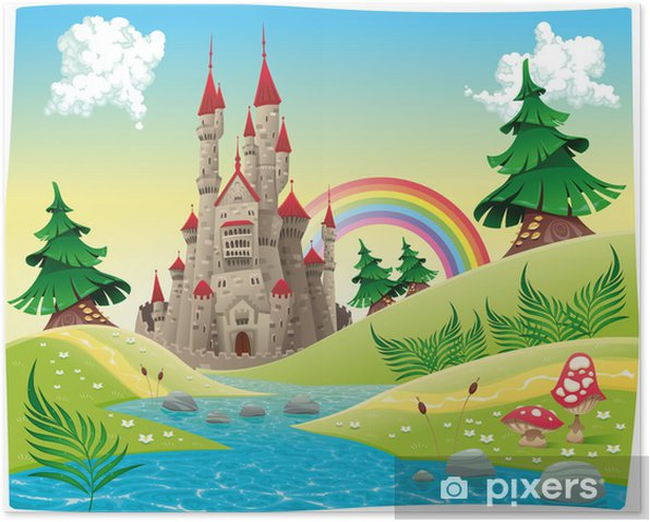 Panorama with castle. Cartoon and vector illustration. Poster - Student