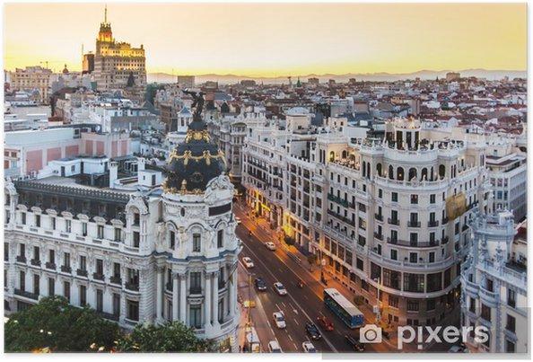 Poster Panoramautsikt över Gran Via, Madrid, Spanien. - Teman