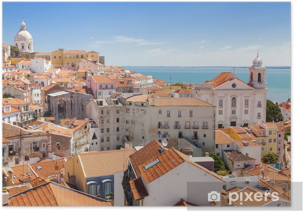 Panoramic of Alfama rooftops, Lisboa, Portugal Poster - iStaging