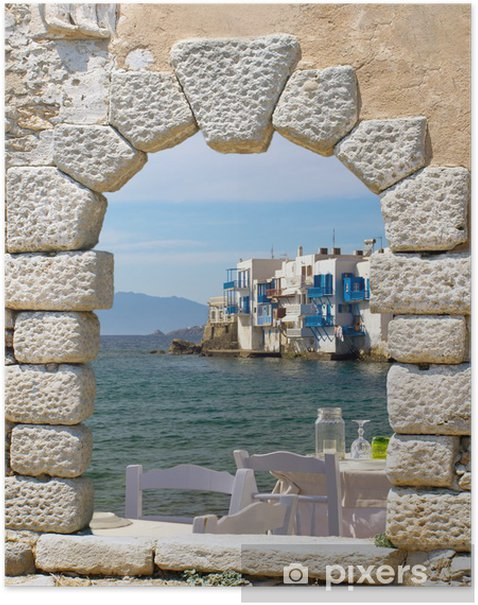 Panoramic view of little Venice on Mykonos Island, Greece Poster - Themes