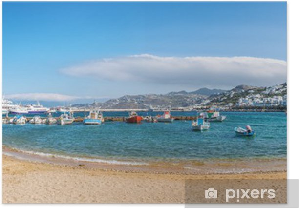 Panoramic view of old harbour in Mykonos town Poster - Themes