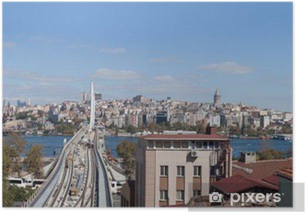 Poster Panoramisch uitzicht op Istanbul, Turkije - Stedelijk